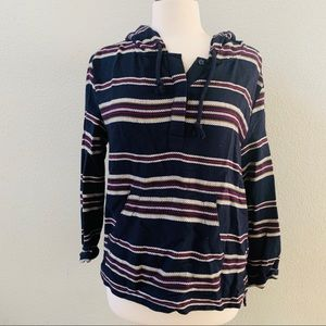 FOREVER 21 navy striped boho baja sweatshirt L